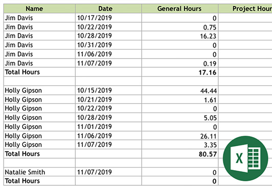COL Time Tracking Export